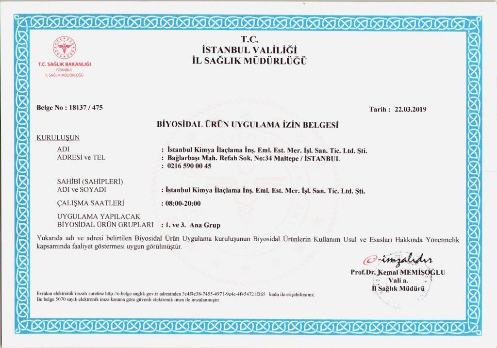 ilaçlama sertifikası 2